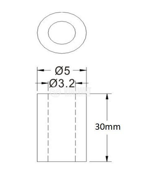 Втулка полиамид 30mm ф5mm - 2