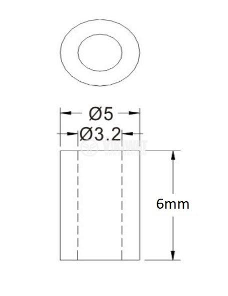 Втулка полиамид 6mm ф5mm - 2