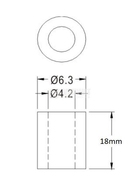 Втулка полиамид 18mm ф6.3mm - 2