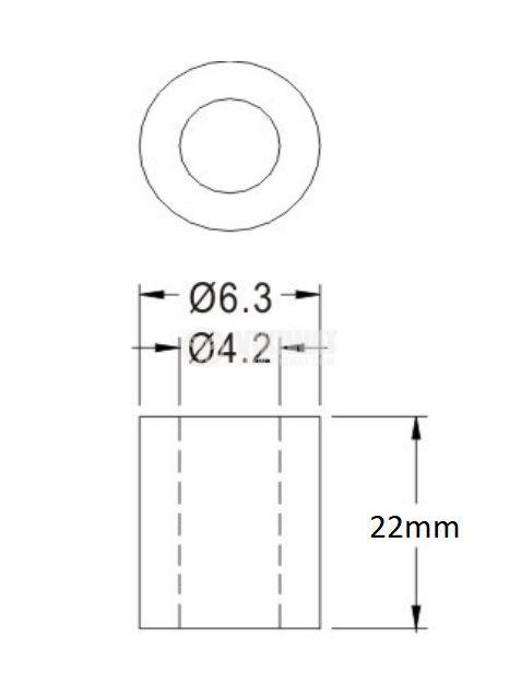 Втулка полиамид 22mm ф6.3mm - 2
