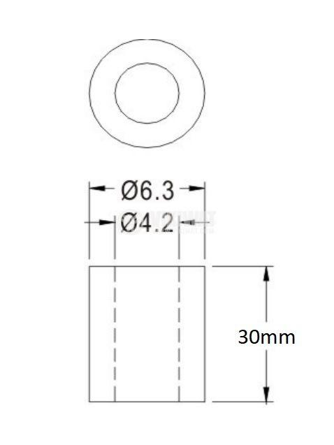 Втулка полиамид 30mm ф6.3mm - 2