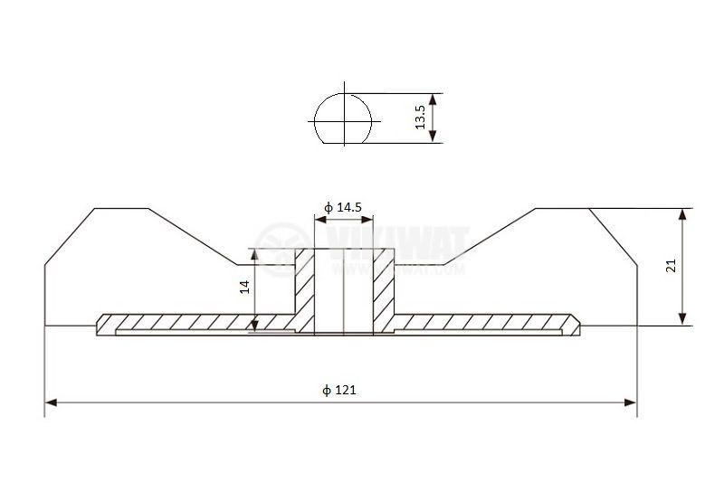 Перка за електродвигател ф14.5 ф121 бяла 12 бр. лопатки - 2