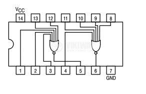 Интегрална схема 74LS260, TTL серия LS, DUAL 5-INPUT NOR GATE, DIP14 - 2