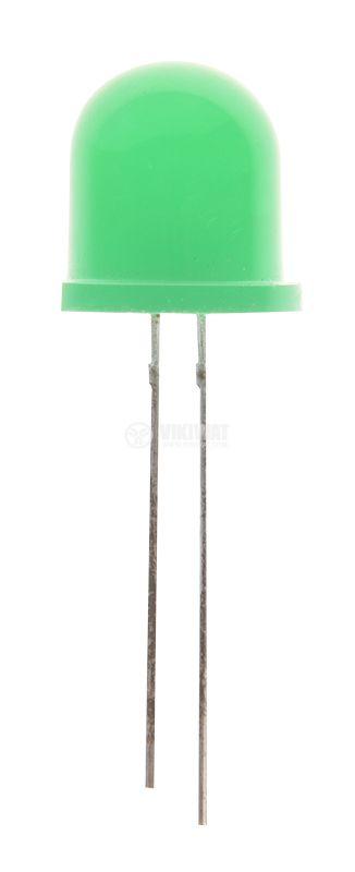 LED диод зелен 12x14 10~15mcd 20mA 60° изпъкнал THT - 1