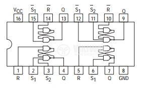 Интегрална схема 74LS279 , TTL серия LS, QUAD SET-RESET LATCH, DIP14 - 2