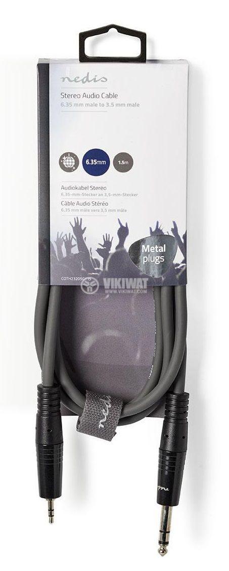 Стерео кабел 3.5mm-6.3mm 1.5m тъмносив - 3