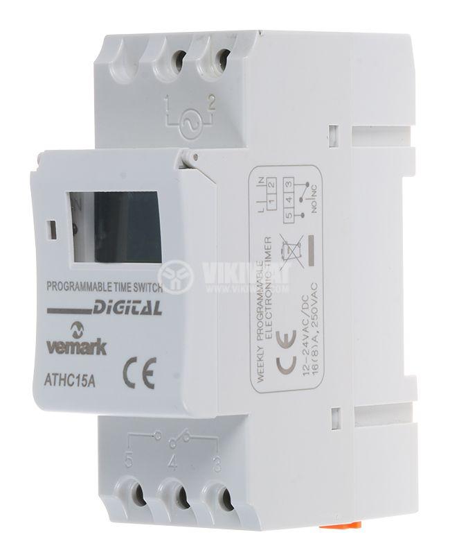 Таймер AHC15A, програмируем, седмичен, 12~24VAC/VDC, NO+NC, 16A/250VAC - 1