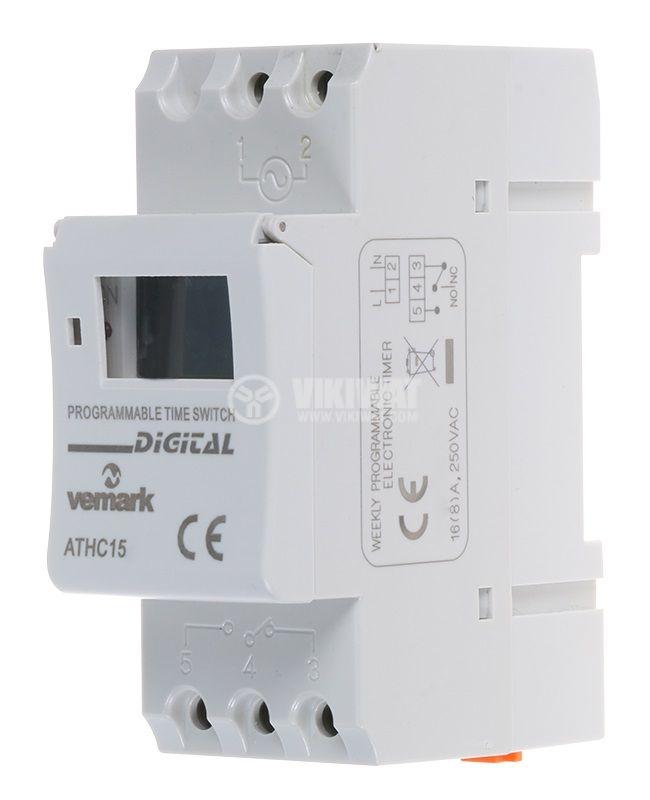 Таймер AHC15М, програмируем, седмичен, 24~240VAC/VDC, NO+NC, 16A/250VAC - 1