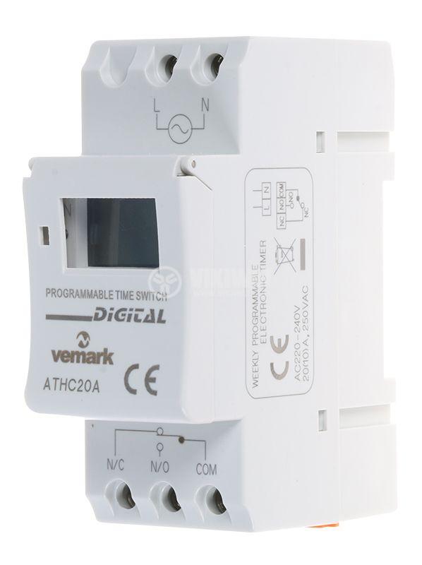 Таймер ATHC20A, програмируем, седмичен, 230VAC, NO+NC, 20A/250VAC - 1