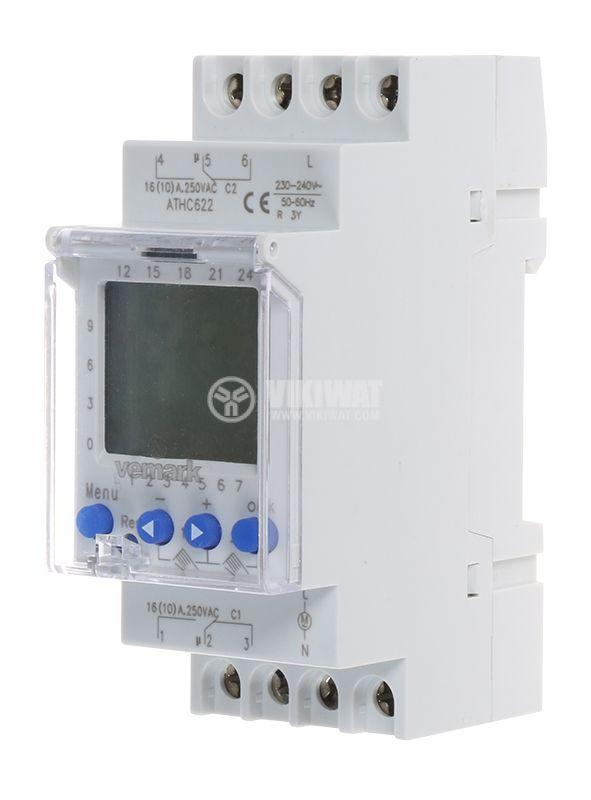 Programmable Weekly Timer ATHC622, 230VAC, 2xNO+2xNC, 2x16A/250VAC - 1