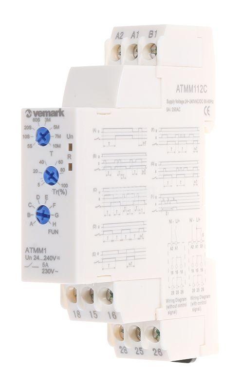 Реле за време ATMM112C, мултифункционално, 24-240VDC/VAC, 0.05s-10min, 2NO+2NC, 5A/250VAC - 1