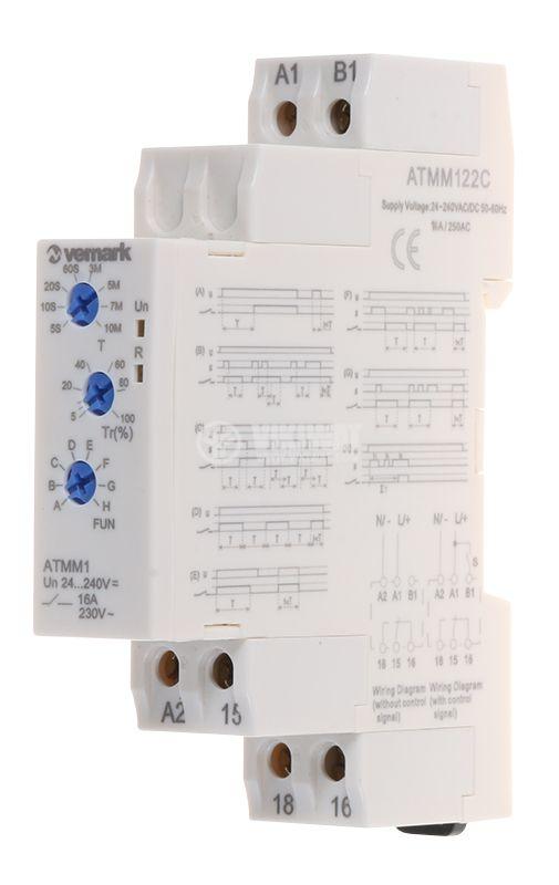Реле за време ATMM122C, мултифункционално, 24-240VDC/VAC, 0.05s-10min, NO+NC, 16A/250VAC - 1