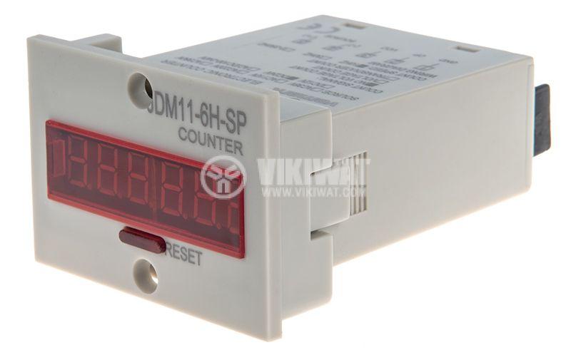 Брояч на импулси, електронен, JDM11-6H2-SP, 24VDC, 6 разряден, 1- 999999 импулса - 1