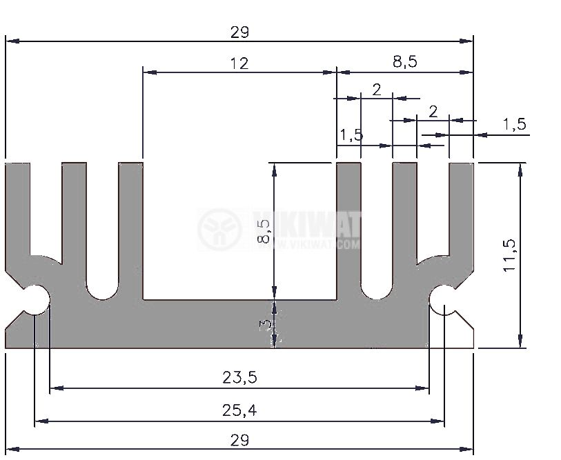 Aluminum profile for cooling 40x29x11.5mm - 2