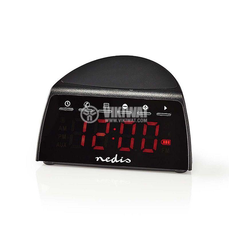 Дигитален часовник с радиоприемник и безжично зарядно за смартфон, Bluetooth, USB, AUX, CLAR006BK - 1