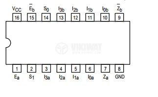 Интегрална схема 74LS352, TTL серия LS, DUAL 4-INPUT MULTIPLEXER, DIP16 - 2