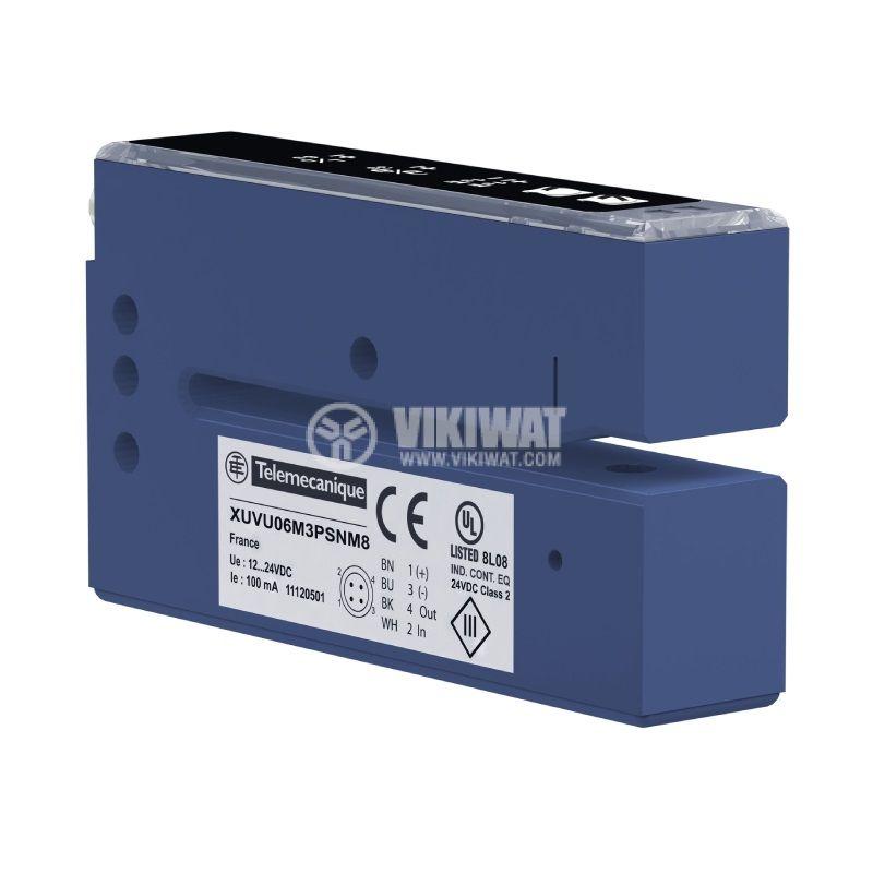 Ултразвуков сензор за етикети, 12~24VDC, NO/NC, PNP/NPN, XUVU06M3KSNM8