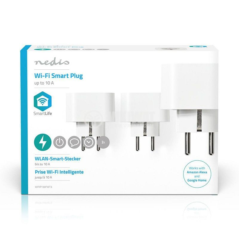 Wi-Fi smart контакт, комплект 3бр., 10A, 230VAC, бял, WIFIP130FWT3 - 6