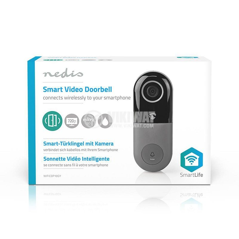Wi-Fi smart видео звънец, 1 Mpx(720p), 8~24VAC, WIFICDP10GY - 8