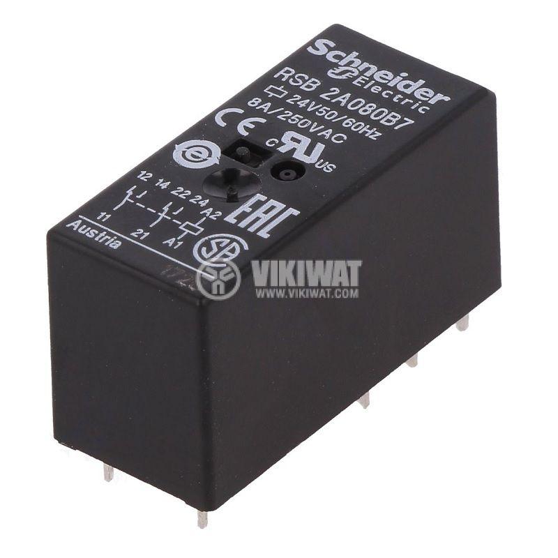 Реле електромагнитно RSB2A080B7, бобина 24VAC, 8A, 250VAC, DPDT, 2xNO+2xNC - 1
