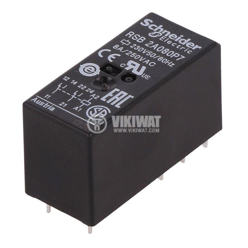 Реле електромагнитно RSB2A080P7, бобина 230VAC, 8A, 250VAC, DPDT, 2xNO+2xNC - 1