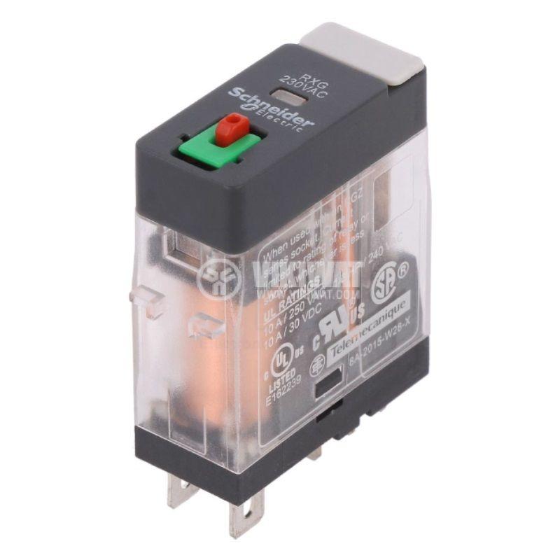Реле електромагнитно RXG11P7, бобина 230VAC, 10A, 250VAC, SPDT, NO+NC - 1