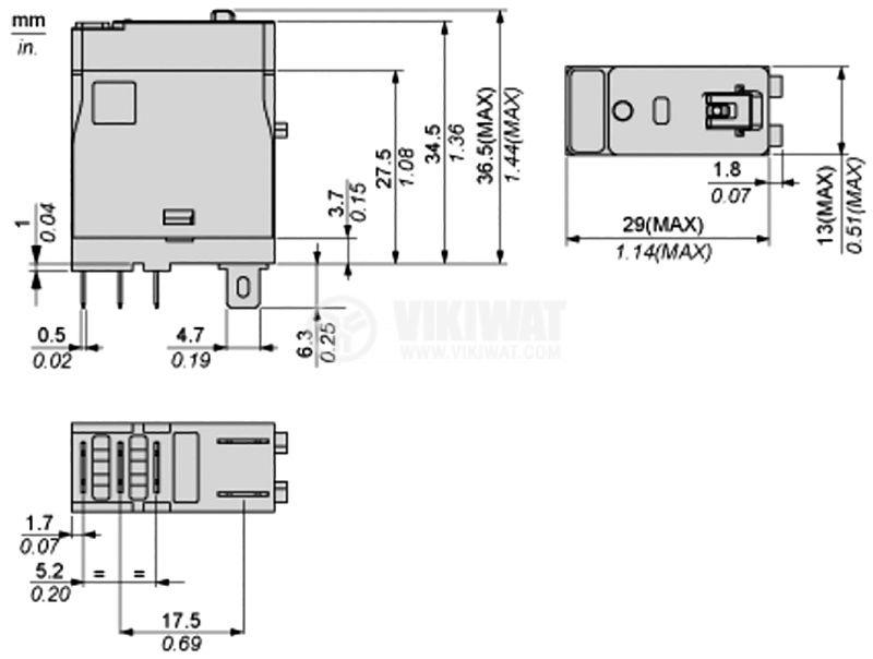 Реле електромагнитно RXG12BD, бобина 24VDC, 10A, 250VAC - 3