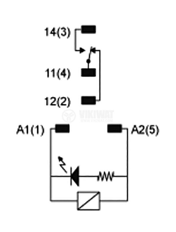 Реле електромагнитно RXG12BD, бобина 24VDC, 10A, 250VAC, SPDT, NO+NC - 4