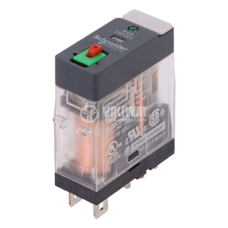 Реле електромагнитно RXG12P7, бобина 230VAC, 10A, 250VAC, SPDT, NO+NC, LED - 1