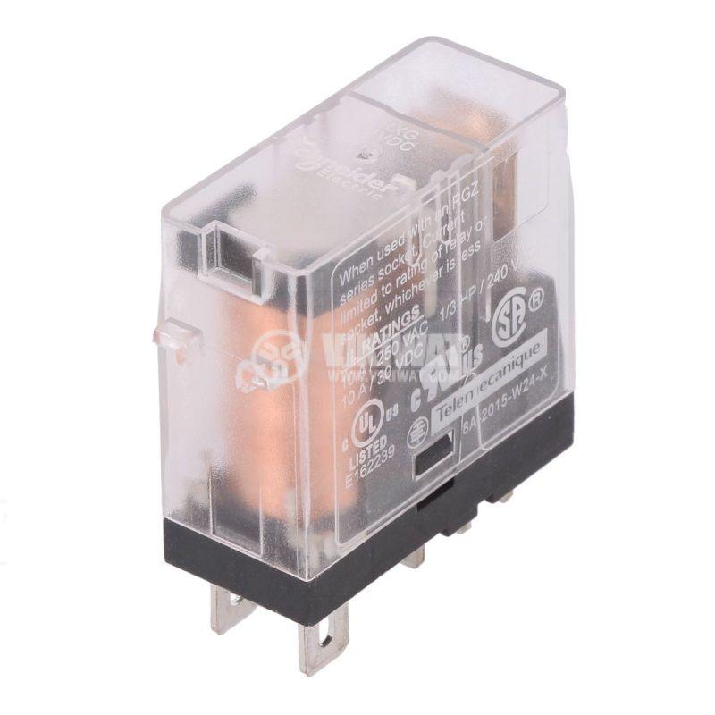 Реле електромагнитно RXG15BD, бобина 24VDC, 10A, 250VAC, SPDT, NO+NC - 1