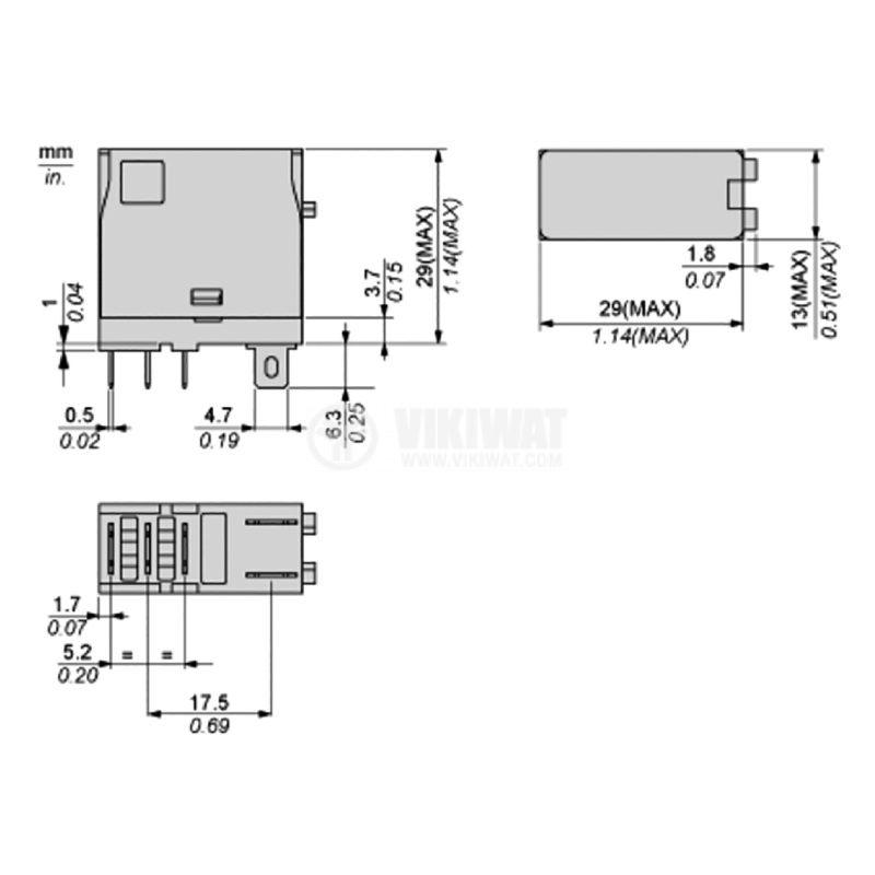 Реле електромагнитно RXG15P7, бобина 230VAC, 10A - 3