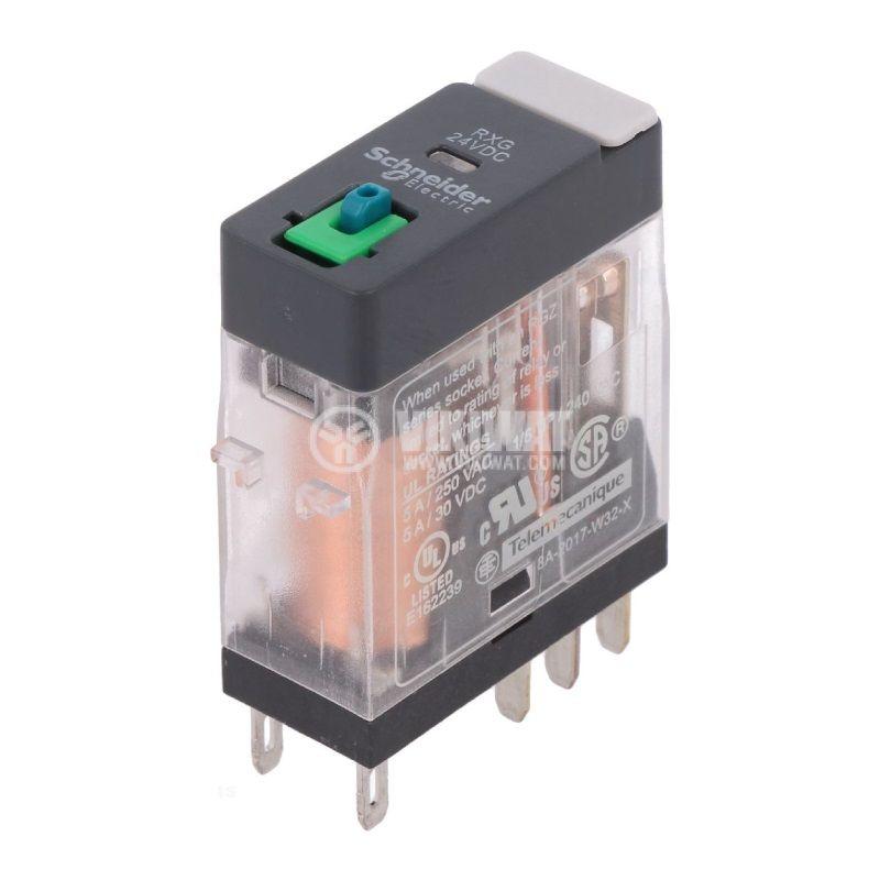 Реле електромагнитно RXG21BD, бобина 24VDC, 5A, 250VAC, DPDT, 2xNO+2xNC - 1