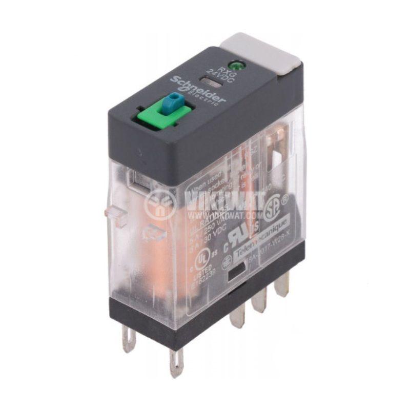 Electromagnetic relay RXG22BD, coil 24VDC, 5A, 250VAC, DPDT, 2xNO+2xNC, LED - 1