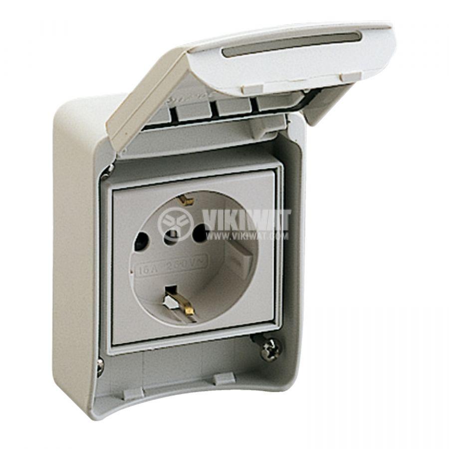 Електрически контакт с капак шуко единичен 16A 250V сив външен SCHNEIDER ELECTRIC 81141