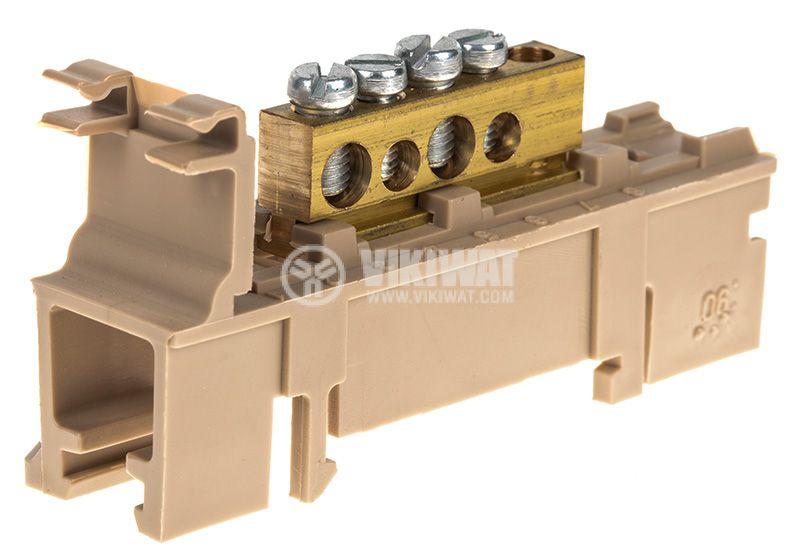 Copper zero terminal, 4 pins, 71x26x36mm - 4
