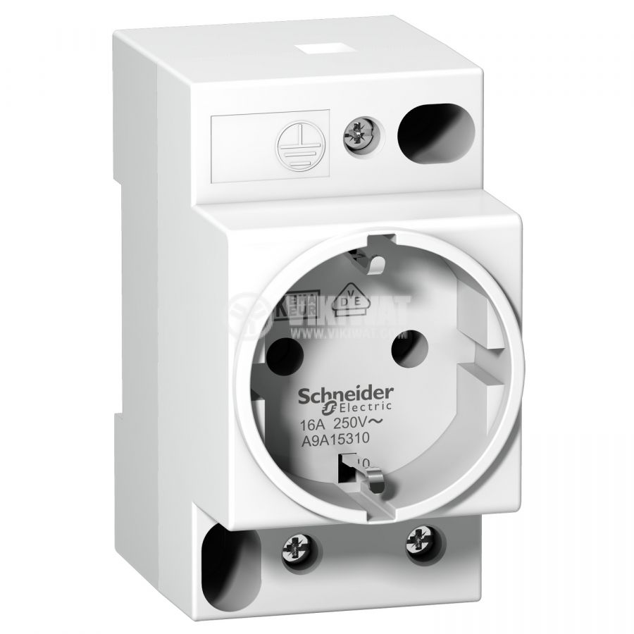 Електрически контакт за DIN шина Acti 9 iPC, шуко, 16A 250VAC, Schneider A9A15310 - 1