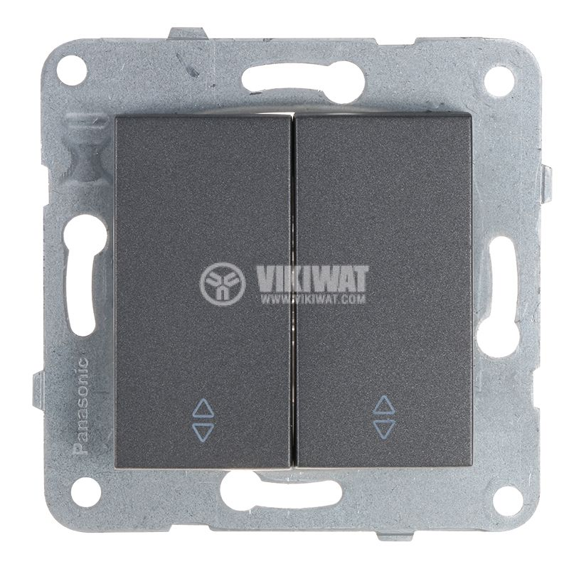 Електрически ключ, Karre Plus, Panasonic, сх.6 девиаторен, двоен, 10A, 250VAC, за вграждане, тъмносив, WKTT0011-2DG, механизъм+капак - 1