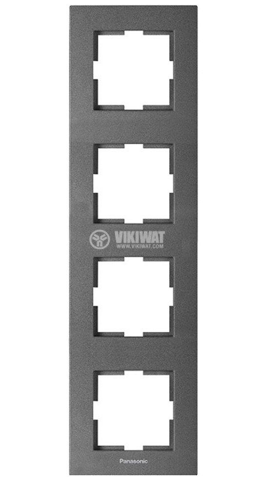 Рамка Karre Plus Panasonic четворка вертикална 296x84mm тъмносива WKTF0814-2DG