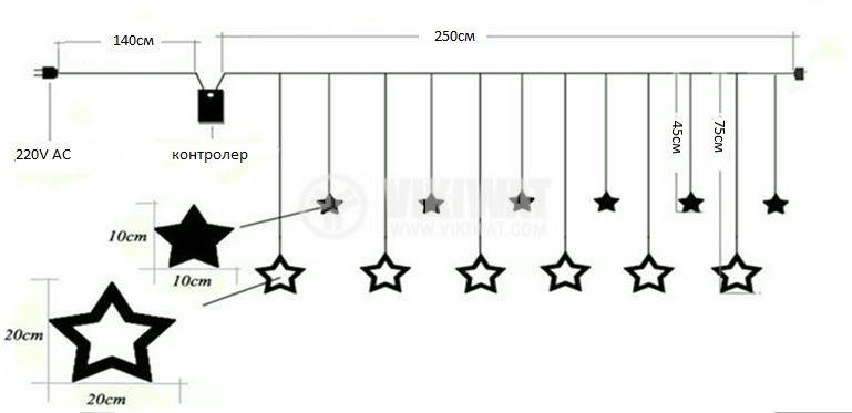 Коледна украса тип звезди 2.5m RGB IP20 138 LED - 2