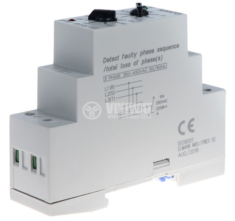 Phase sequence control relay, 300 ~ 480VAC, DIN  - 4