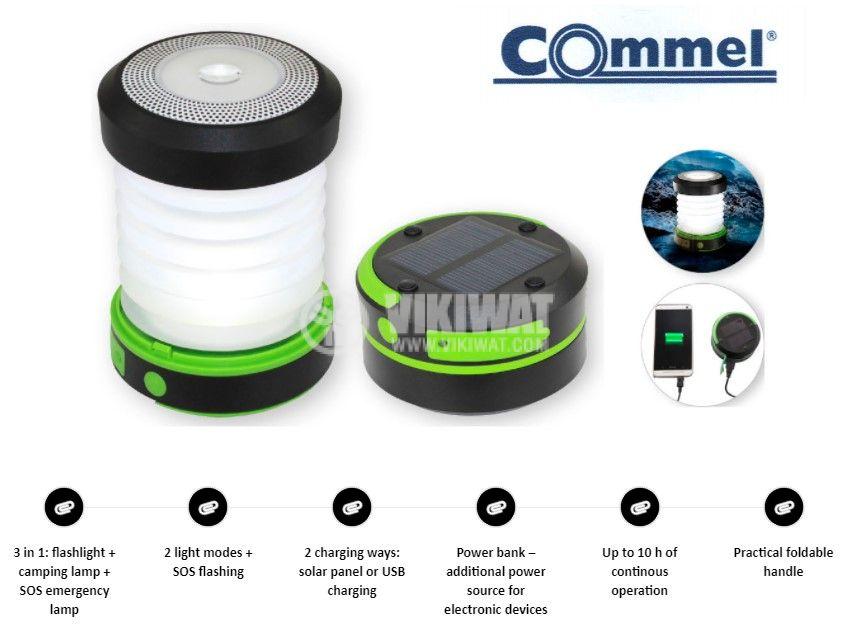 Соларна къмпинг LED лампа, сгъваема, 1W, 65lm, USB порт, C401-712, Commel - 6