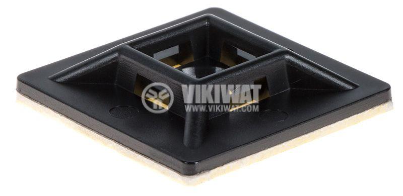 Самозалепваща се основа за кабелни превръзки BMN0902, 28x28mm, черна - 1