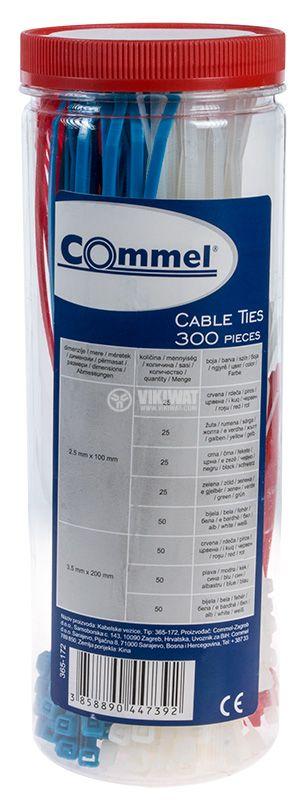 Комплект кабелни превръзки Commel 365-172 100x2.5mm 200x3.5mm черни червени жълти зелени сини и бели - 1