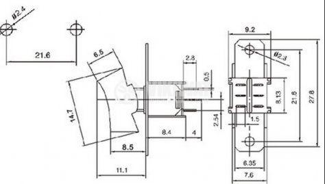 Клавишен превключвател rocker  SRLS-203-C1, 1.5 A/250 VAC, 3 А/125 VAC, DPDT, ON-OFF-ON , черен  - 4