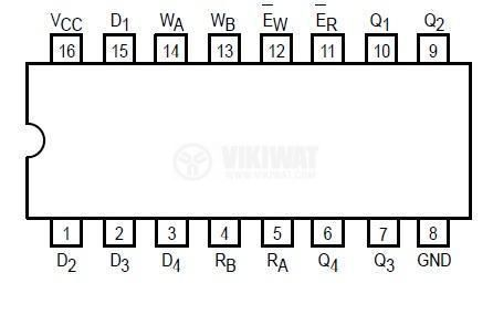 Интегрална схема 74LS670, TTL серия LS, 4 x 4 REGISTER FILE WITH 3-STATE OUTPUTS, DIP16 - 2