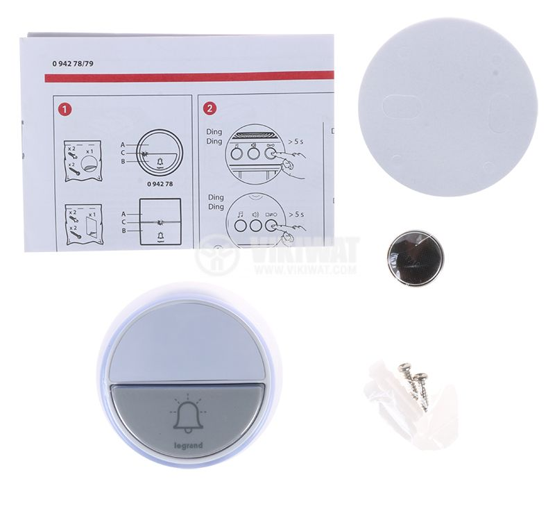 Безжичен бутон за звънец LEGRAND 94278 - 4