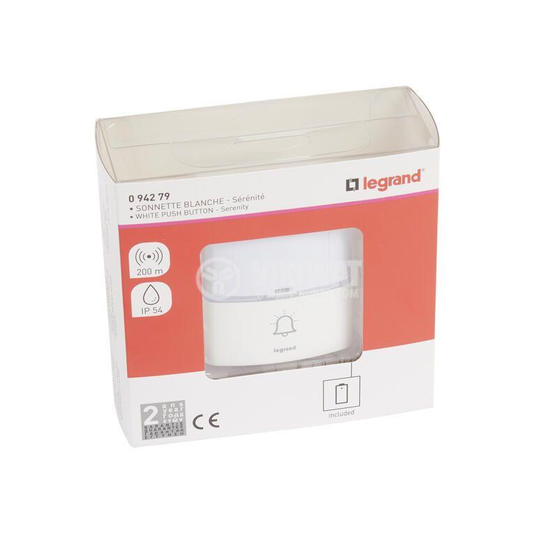 Допълнителен бял бутон за звънец легранд 94279 - 2