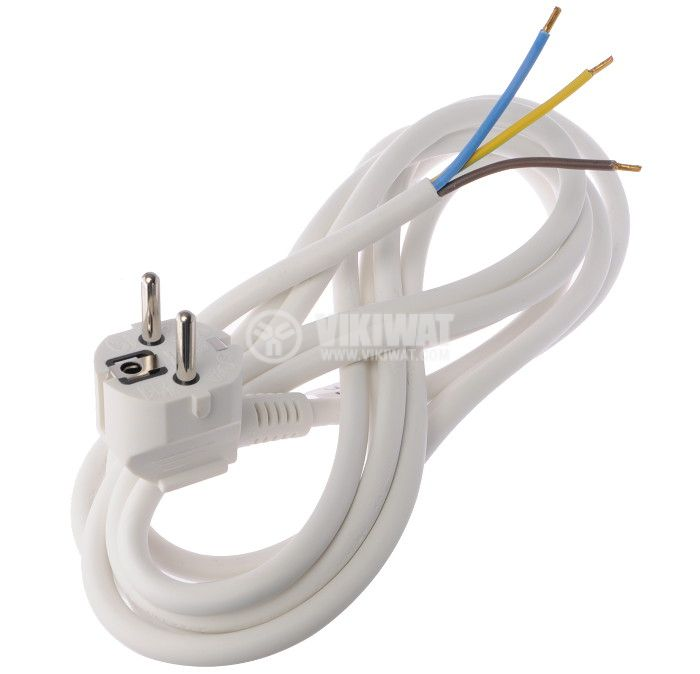 Захранващ кабел 3x2.5mm2, 2m, шуко Г-образно, бял, поливинилхлорид (PVC)