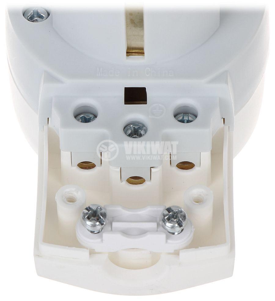 Триполюсен щепсел тип Шуко 250V 16A 90° PVC бял/сив ON/OFF - 4