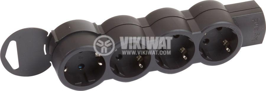 Разклонител без кабел 4 гнезда 16А 230V черен LEGRAND 695033